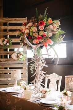 One can never use too many antlers! Bridal Show, Bridal Style, Fall Wedding, Wedding Ideas, Night Out, Reception, Couture Bridal, Table Decorations, Southern Charm