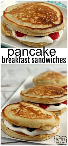 Pancake Breakfast Sandwiches are filled with fresh fruit and a light maple whipped cream filling. The perfect well-balanced breakfast for everyone in the family! I would use HOMEMADE pancakes! Grill Breakfast, Breakfast Sandwich Recipes, Gourmet Breakfast, Breakfast Waffles, Homemade Breakfast, Breakfast Healthy, Kid Breakfast, Fruit Sandwich, Frozen Breakfast