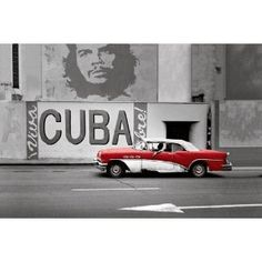 HUGE LAMINATED / ENCAPSULATED Cityscape Beautiful Havana Vintage Red Cuban Car
