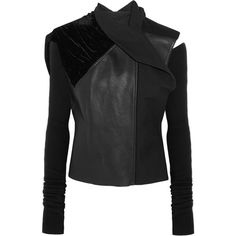 Rick Owens - Sphinx Leather, Velvet And Wool Biker Jacket ($1,452) ❤ liked on Polyvore featuring outerwear, jackets, black, leather motorcycle jacket, wool leather jacket, moto jacket, real leather jackets and leather biker jacket