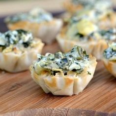 Amazing bite size versions of creamy spinach and artichoke dip!