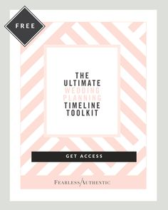 Planning a wedding? Get this FREE Timeline Toolkit for planning with confidence by Fearless Authentic. It's straight to the point and easy to understand. #weddingplanning #weddingplanningtips #weddingplanningsimplified #mywedding #engaged #bridetobe http://fearlessauthentic.com/