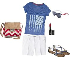 What I Wish I Wore, Vol. 34 – America the Beautiful | Style On Target | white shorts, flag tee, red white and blue style, red chevron purse
