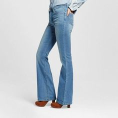 Women's Beckett High Rise Flare Jeans Polaris 16 Short - Crafted by Lee, Blue