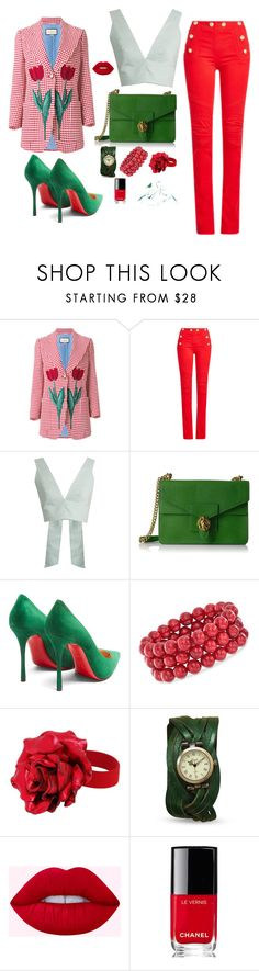 """Untitled #49"" by loveazerbayjani ❤ liked on Polyvore featuring Gucci, Balmain, Kalita, Anne Klein, Christian Louboutin, Ross-Simons, Yves Saint Laurent and Chanel"