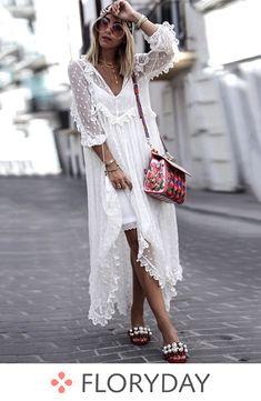 Polka Dot V-Neckline Long Sleeve Maxi Shift Dress - Floryday White Maxi Dresses, White Dress, Summer Dresses, White Tulle, Summer Outfits, Dresses Dresses, Ladies Dresses, Vacation Dresses, Casual Dresses