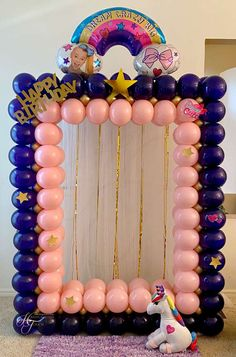 Birthday Party At Home, Girls Birthday Party Themes, First Birthday Party Decorations, Balloon Decorations Party, Unicorn Birthday Parties, Birthday Balloons, First Birthday Parties, 7th Birthday, Birthday Video