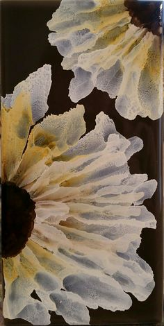 Discovered white alcohol ink. Love it! Flowers in alcohol ink on 3x6 tile by Tina