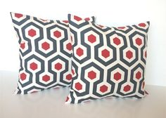 Throw Pillow Covers. 18 X 18 Inch Set of 2 Cherry Red  and Charcoal Couch Pillow Covers $34.00