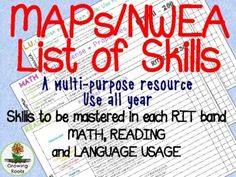 <p>If you use NWEA MAPs data to track student growth, this comprehensive list of the skills to be mastered in each RIT band is an ideal educator's resource. Over 190 pages, covering the skills covered in the 2 - 5 Reading, Math and Language Usage tests, will help you with lesson planning, targeted instruction and goal setting. The charts are multi-purpose, attractive and easy to read. Ideal for classroom teachers, specialists and administration, the skills cover multiple grade levels. Print… List Of Skills, Map Skills, Moby Max, Student Data, Student Success, Data Tracking, Instructional Coaching, Teacher Organization, Elementary Math
