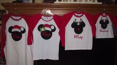 Disney Mickey Minnie Mouse Applique Holiday Santa Rudolf Reindeer T-Shirt Custom Personalized Christmas. $19.00, via Etsy.