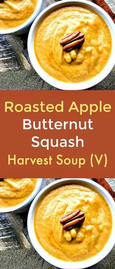 Roasted Apple Butternut Squash Harvest Soup -  This sweet, savory, vegan soup is a delightful blend of roasted butternut squash, apples, red onion, fresh ginger, cinnamon, nutmeg,  cloves and allspice.    #Apple  #ButternutSquash  #Soup  #vegansoup  #veganrecipes  #plantbaseddiet  #butternutsquashrecipes  #fallproduce Healthy Soup Recipes, Fall Recipes, Real Food Recipes, Vegan Recipes, Delicious Recipes, Holiday Recipes, Roasted Apples, Roasted Butternut, Butternut Squash
