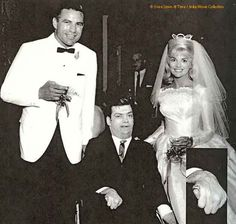 Former girlfriend to Elvis before entering the Army Anita Wood married Johnny Brewer NFL pro football player June 13, 1964 also in the picture Gerry Pepper Elvis Fan Club Chairman.