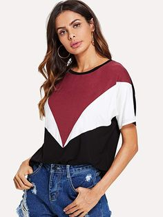 Nat's Fave @amazon #PrimeDay finds - Romwe Women's Color Block Blouse Short Sleeve Casual Tee Shirts Tunic Tops Ladies Design, Lacoste Polo Shirts, Designing Women, Casual Wear, Tee Shirts, Tunic Tops, Crop Tops, Female, Clothes For Women