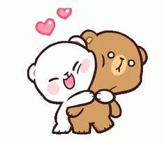 Milk and mocha bear couple gif - milkandmocha bearcouple line - discover & share gifs Cute Cartoon Images, Cute Couple Cartoon, Cartoon Gifs, Cute Cartoon Wallpapers, Hug Cartoon, Animiertes Gif, Hug Gif, Animated Gif, Calin Gif