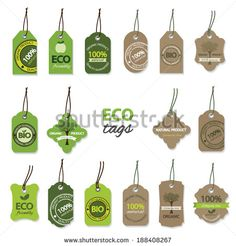 Eco organic labels big set.