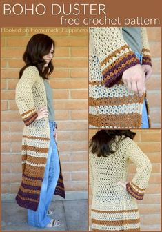 Crochet Blusas Boho Duster Crochet Pattern - The Boho Duster Crochet Pattern is just what you need for fall! It's long, comfy, and has a fun bell at the hips and in the sleeves. Crochet Bodycon Dresses, Black Crochet Dress, Crochet Coat, Crochet Cardigan Pattern, Crochet Jacket, Crochet Scarves, Crochet Clothes, Crochet Patterns, Crochet Sweaters