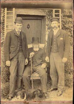 Grande CDV portrait trois hommes angais anonyme English men mode vers 1890