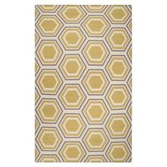 """Anchor your living room seating group or define space in the den with this hand-woven wool rug, showcasing a concentric honeycomb motif for eye-catching appeal.   Product: RugConstruction Material: 100% WoolColor: Ivory, dark lavender gray and goldFeatures:  Hand-wovenFlat pilePile Height: 0.157"""" Note: Please be aware that actual colors may vary from those shown on your screen. Accent rugs may also not show the entire pattern that the corresponding area rugs have.Cleaning and Care: Vacuum…"""