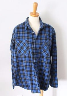 Vtg 80s Coleman Plaid flannel Shirt men XL blue Black cotton Grunge punk F1 #Coleman #ButtonFront