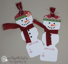snowman tags using envelope punch board and scalloped tag punch