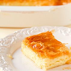 A recipe for Greek Custard Pie, otherwise known as Galaktoboureko. Layers of phyllo dough sandwich a fabulous custard filling. Greek Desserts, Greek Recipes, Pie Recipes, Just Desserts, Dessert Recipes, Phyllo Dough Recipes, Greek Sweets, Lebanese Recipes, Yogurt Recipes