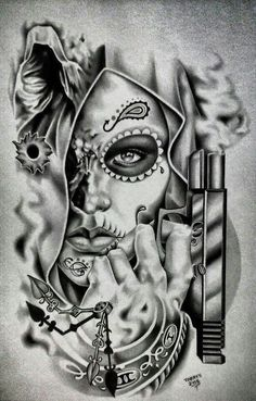 Chicano Arte More Mais Skull Girl Tattoo, Sugar Skull Tattoos, Sugar Skull Art, Girl Skull, Kunst Tattoos, Body Art Tattoos, Girl Tattoos, Sleeve Tattoos, Gangster Tattoos