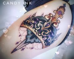 #neo #traditional #crown #knife #tattoo #girly #ornament
