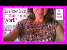 """Blusa, Suéter, Sweater a Crochet """"Abril"""" por Maricita Colours Hombro caído - YouTube"""