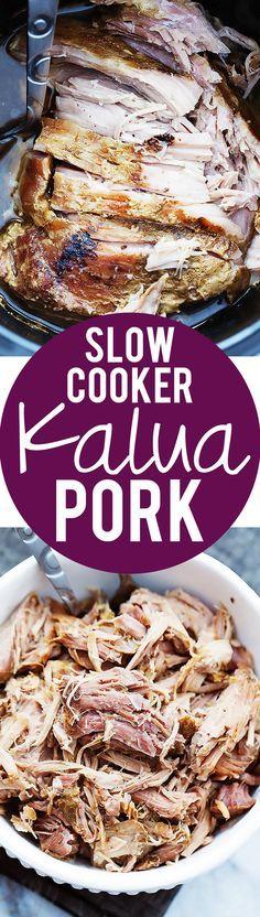 Slow Cooker Kalua Pork , By Paula Michele . Incredible juicy and tender Slow Cooker Kalua Pork with the most amazing flavor! Crock Pot Slow Cooker, Slow Cooker Recipes, Crockpot Recipes, Cooking Recipes, Kalua Pork Slow Cooker, Crockpot Meat, Slow Cooking, Gula, Yummy Food
