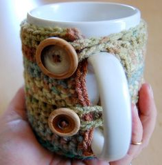 must learn to crochet . . . Grab Your Mug Cozy Crochet Pattern...Great gift idea for those that knit!