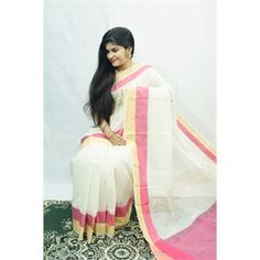 Off+White+Cotton+Saree+With+Plain+Golden+&+Rose+Pink+Border|+With+Blouse