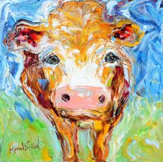 Original oil painting Cow animal portrait palette by Karensfineart