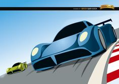 Racing cars competition cartoon- Free Vector Download ☺ ✿. ☻ ✿