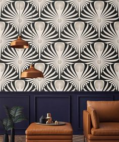 Wallpaper Art Deco Peel and Stick or Traditional Modern Wall Paper Custom color and size
