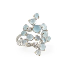 Paul Morelli Aquamarine & White Diamond Bubble Cluster Ring (£1,925) ❤ liked on Polyvore featuring jewelry, rings, accessories, cluster jewelry, cabochon ring, white diamond ring, bubble jewelry and paul morelli jewelry