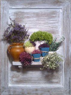 Картины цветов ручной работы. Ярмарка Мастеров - ручная работа. Купить Панно из сухих цветов. Handmade. Панно на стену