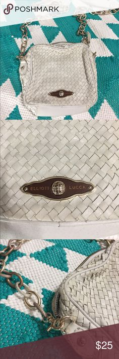 Elliott Lucca Woven Leather Crossbody Bag Great condition! Purchased from Saks Off Fifth. Cream colored - see photos for color details! Slight wear around the zipper - see photos. Elliott Lucca Bags Crossbody Bags