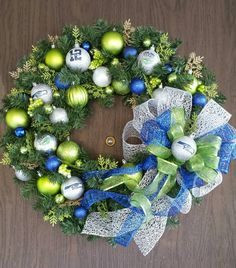 Hey, I found this really awesome Etsy listing at https://www.etsy.com/listing/213746880/seattle-seahawks-christmas-wreath-24