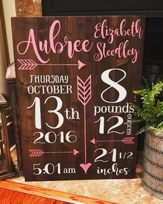 Your place to buy and sell all things handmade Customized Baby Birth Sign ~ 20 x 28 Vinyl Crafts, Vinyl Projects, Wooden Crafts, Easy Projects, Animals Tattoo, Deco Boheme, Pin On, Diy Signs, Wood Signs