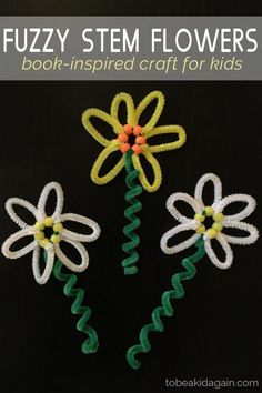 Preschool Fuzzy Stem Flowers Inspired by Daisy-Head Mayzie – Craft for Kids – Use pipe cleaners to make a fun spring flower with preschoolers and kindergartners - Preschool Children Activities Flower Crafts Kids, Spring Crafts For Kids, Summer Crafts, Toddler Crafts, Art For Kids, Children Crafts, Kid Art, Craft Stick Crafts, Preschool Crafts