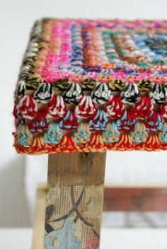 two colors crochet - wood & wool stool