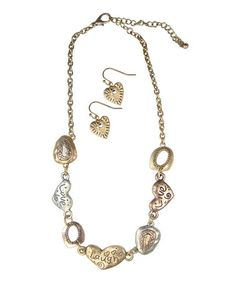 Look what I found on #zulily! Gold & Silver 'Live Love Laugh' Necklace & Earrings #zulilyfinds
