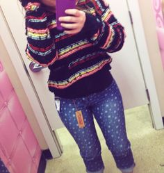 Hipster sweater&& heart pants(: #inlove