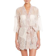 Fleur du Mal Lace Bridal Kimono ($615) ❤ liked on Polyvore featuring intimates, robes, apparel & accessories, ivory, tie belt, lace robe, bridal robe, kimono robe and bridal kimono robe