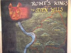 The City of Seven Hills. Rome. Waldorf 6th grade. Chalk drawing. Home schooling.