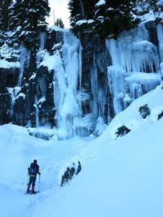 Snowshoeing by a frozen waterfall... what a winter adventure! Awesome trip @iparkwa! http://rblr.co/A6To #snowshoe #winter #waterfal #Washington #trip #outdoors www.ramblr.com