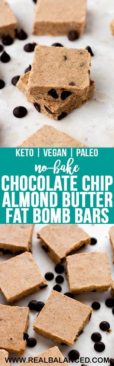 No-Bake Chocolate Chip Almond Butter Fat Bomb Bars | Real Balanced