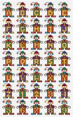 Palhaços Alphabet Sampler Cross Stitch Chart PDF POR clairecrompton
