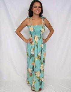 4b6c0b57de4 Long Tube Top Smocked Hawaiian Dresses Island Ceres Design Rayon Color   Green Length  Inches From Bustline Size  One Size fits most Made in Hawaii -